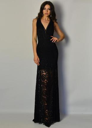 Роскошное дизайнерское кружевное вечернее платье в пол дорогое кружево открытая спина
