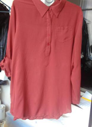 Блуза из вискозы кирпичного цвета большого размера