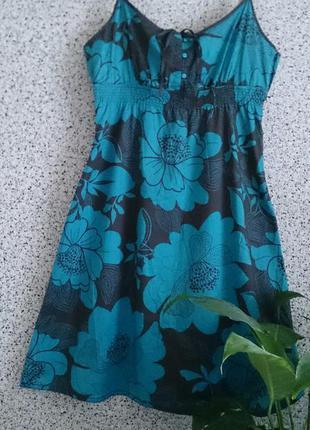 Платье - сарафан из натуральной ткани в цветочный принт esprit