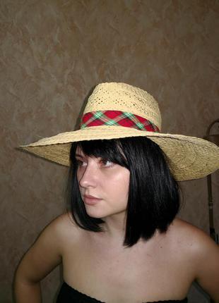 Соломенная шляпа федора широкие поля