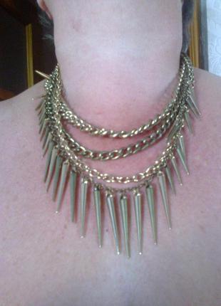 Акция 1+1=3! колье, ожерелье, подвеска, шипы,с шипами, этно панк стиль