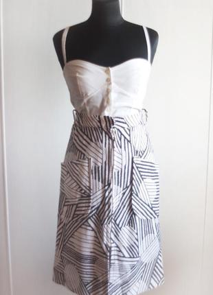 Юбка миди с геометричным принтом и карманами, ретро стиль
