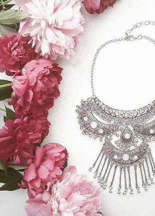 Античное колье  в стиле бохо / украшение / ожерелье / массивное / бижтерия