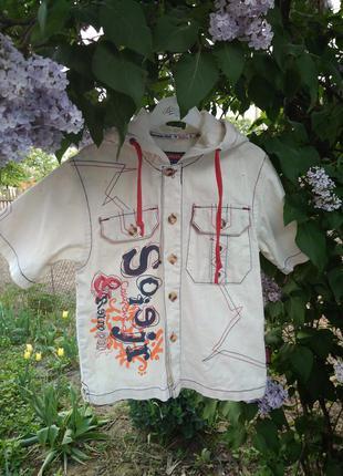 Хлопковая рубашка с капюшоном