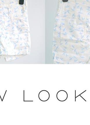 Белые шорты с ласточками на высокой талии new look