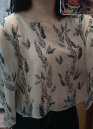 Принт перо шифон свободный крой блуза atmosphere