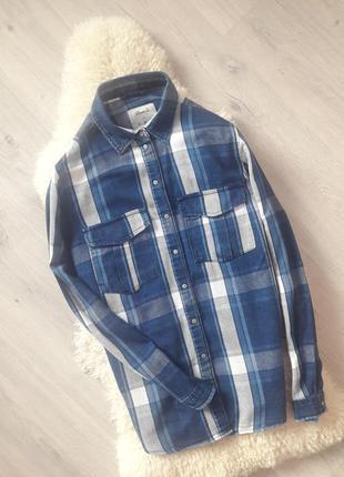 Рубашка denim co в клетку/полосу 100% cotton