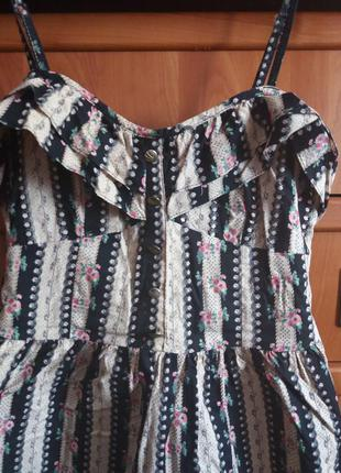 Платье сарафан с оборкой рюши