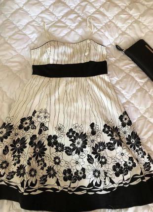 Платье бело-черное котоновое