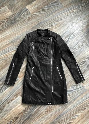 Супермодное красивое черное эко кожаное пальто длинная куртка косуха от reserved
