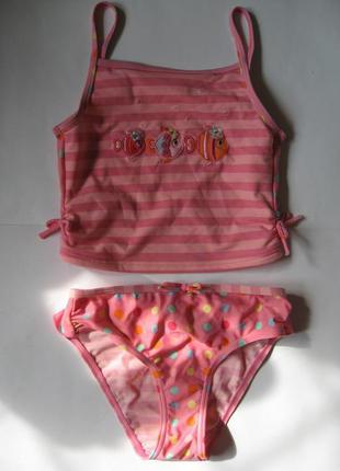Модный детский купальник танкини на 7-8лет, рост 122-128см