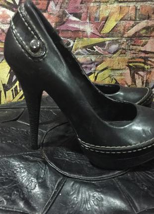 Туфли на каблуке высоком кожзам черные размер 36