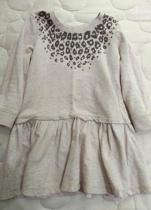 Нежное хлопковое платье с леопардовым рисунком