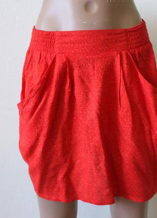 H&m классная мини юбка с карманами, красная h&m