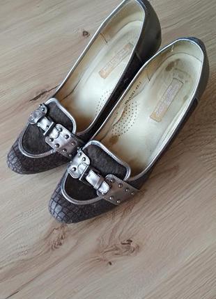 Туфли ellenka кожа + крокодил. кожа