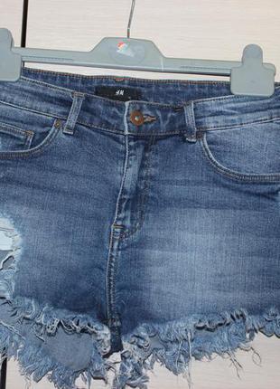 Стильні джинсові рвані шорти h&m