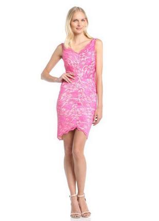 Стильное сексуальное облегающее кружевное розовое платье