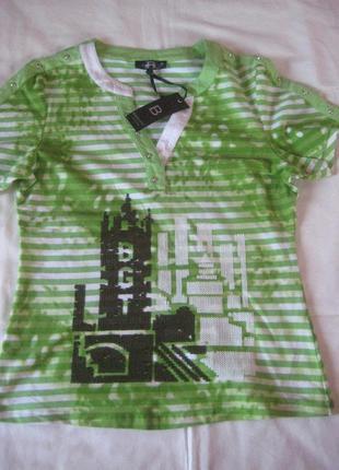 Полосатая футболка, узор вышит паетками, италия