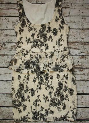 Гипюровое платье стрейч с баской m-l
