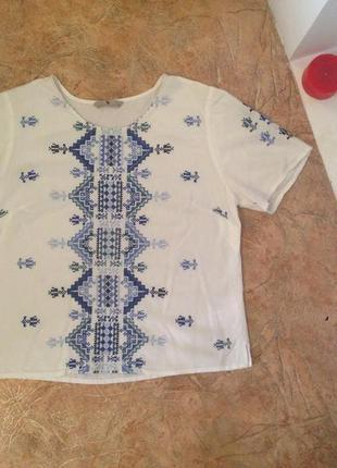 Футболка / блуза с вышивкой / вышиванка в стиле гжель от tu