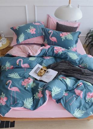 Постельное белье фламинго, 100% хлопок. евро размер.