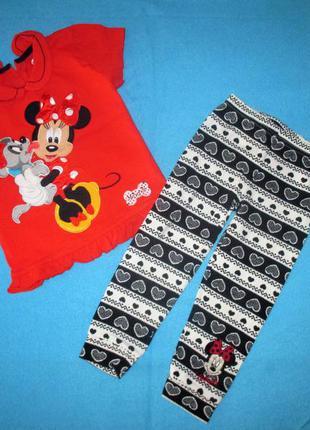 Летний комплект: футболка и лосины дисней george, минни, рост 98-104 см
