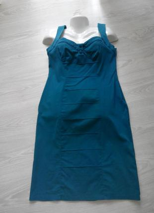 Платье-сарафан цвета морской волны uk 16 eur 46