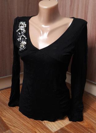 Базовая черная кофта с длинным рукавом, трикотажная с пайетками1 фото
