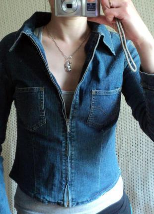 Джинсовая рубашка на молнии от dlf. турция. м,l