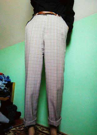 Класичні штани в клітку на високій посадці