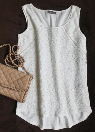 Белая кружевная блуза от street one, размер м