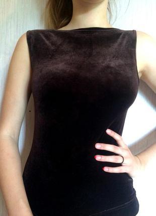 Шоколаднся бархатная блуза