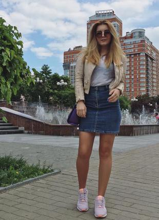 Трендовая джинсовая юбка, трапеция с высокой талией