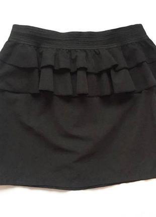 Мини юбка с двойной баской