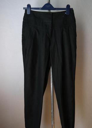 Льняные зауженые к низу укороченые брюки лен+вискоза