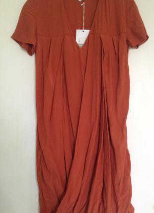 Sale! интересное платье на запах цвет терракотовый/xs/