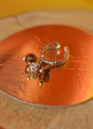 Серебряное кольцо с натуральным раухтопазом