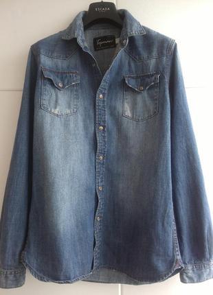 Стильная джинсовая рубашка topman с потёртым эффектом