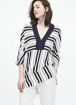 Zara оригинал красивая удлиненная блуза/туника/рубаха в сине-белую полоску m-l
