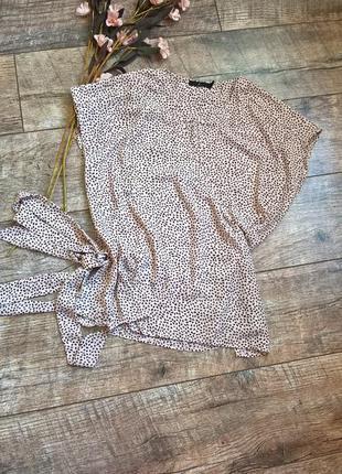 Бежевая блуза на запах от ahlens/легкая/летняя-l-xl-ка