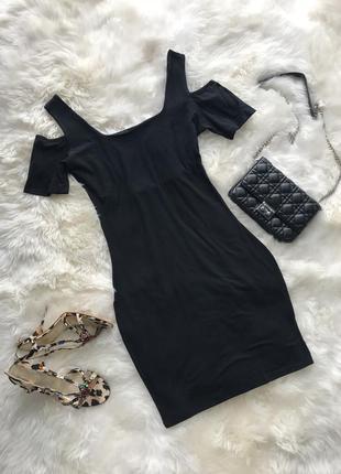 Чёрное платье/ платье с открытыми плечами