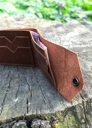 Практичная компактная модель унисекс кожаного портмоне/кошелька в коньячном цвете