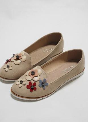 Женские бежевые балетки (туфли) из эко-замши с цветочками