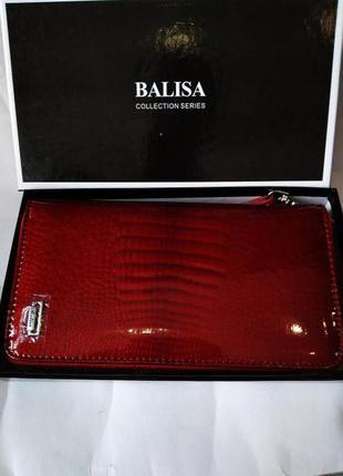 Женский кожаный лаковый кошелек на молнии и с ремешком для запястья balisa