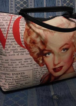 """Летняя сумка-саквояж  от презентвилль с принтом """"монро"""""""