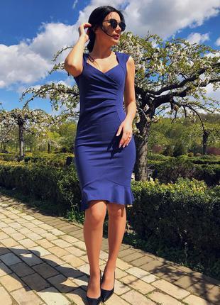 Идеальное синие платье для офиса и отдыха