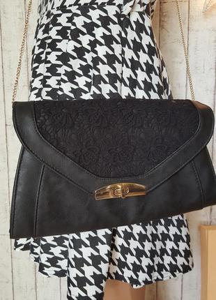 Восхитительньная 👍 новая сумочка клатч с кружевом сумка на цепочке через плечо от new look