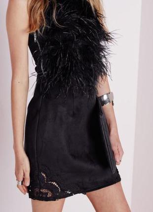 Очень красивая юбка под замш с кружевными вставками по бокам