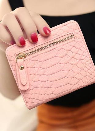 Компактный кошелек под кожу рептилии, милый кошелек,маленький кошелек,розовый пудра