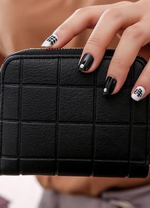 Акция!!женский маленький кошелек, квадрат, черный, вместительный